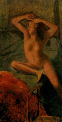 Balthus (Balthasar Klossovsky de Rola). Nude with arms raised and red bedspread