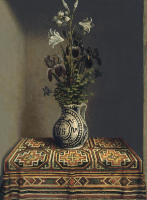"Hans Memling. Flowers in a vase (the reverse side of the painting ""portrait of a praying young man"")"