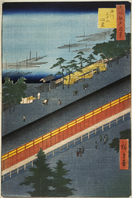 "Utagawa Hiroshige. The sanjusangendo temple, the city of Fukagawa. The series ""100 famous views of Edo"""