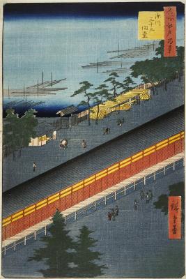 "Utagawa Hiroshige. The sanjusangendo temple, the city of Fukagawa. The series ""100 famous views of Edo"""