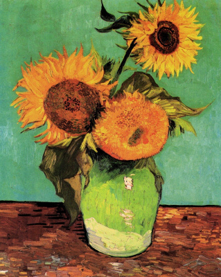 Vincent van Gogh. Sunflowers (on turquoise background - the first version 1888)