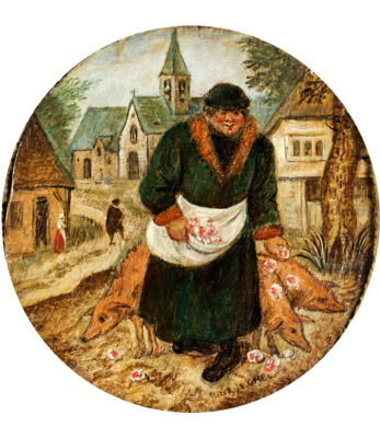 """Peter Brueghel the Younger. Man and pig. Illustration of the saying """"to Scatter roses before swine"""""""