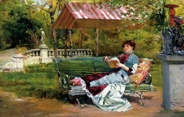 Людовико Маркетти. Чтение книги на природе