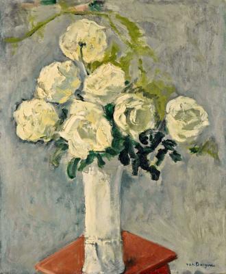 Kees Van Dongen. Seven white roses