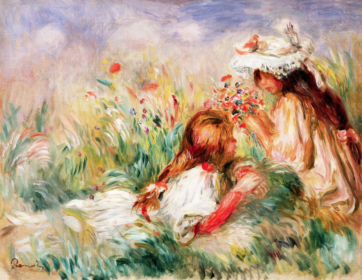 Pierre-Auguste Renoir. Girls on the grass