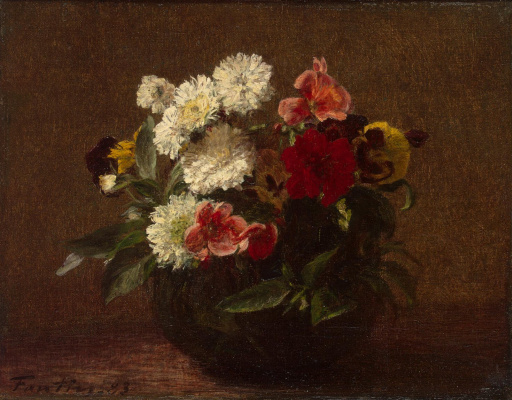 Henri Fantin-Latour. Flowers in a clay vase