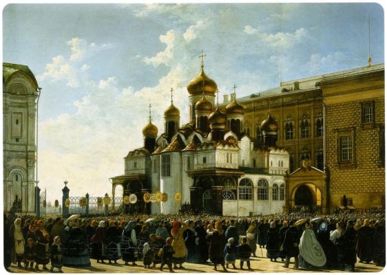 Карл Петрович Бодри. Крестный ход у Благовещенского собора в Московском Кремле