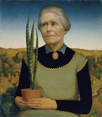 Grant Wood. Woman with flowers