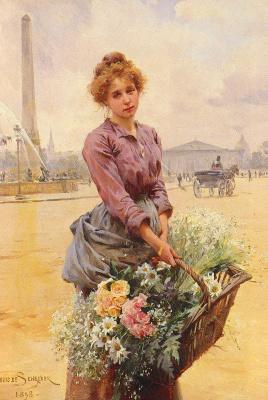 Луи Де Шрайвер Мари. Девушка с корзиной цветов