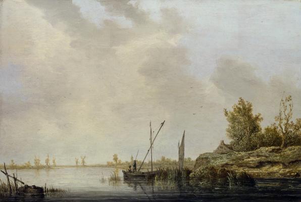 Альберт Якобс Кейп. Река с вдаль стоящими мельницами