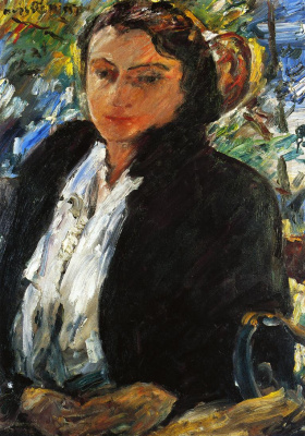 Ловис Коринт. Портрет Шарлотты Беренд-Коринт в зеленом бархатном жакете
