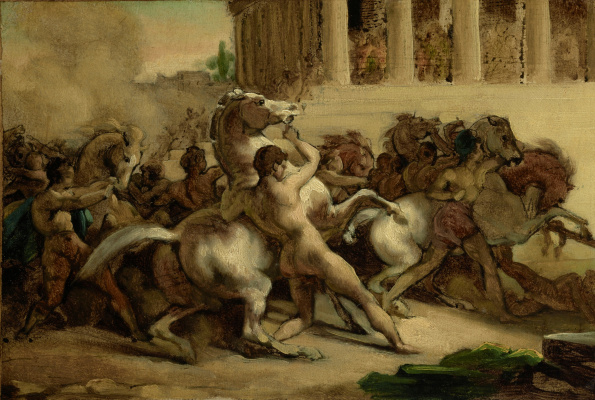 Théodore Géricault. Horse racing without riders