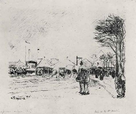 Camille Pissarro. The market of Saint Martin in PONTOISE