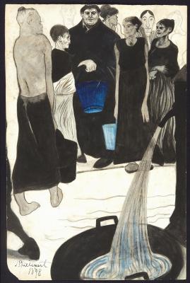 Леон Спиллиарт. 1898_Рядом с водонапорной колонкой (Autour de la pompe a eau)_33 х 37.5_бумага, акварель, кисть, перо и тушь