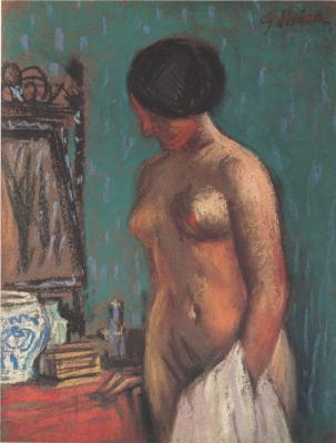 Fujima Takeuka. Nude at the mirror