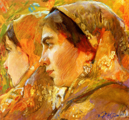 Fedor Grigorievich Krichevsky. Female heads. Lidia Staritskaya with her daughter