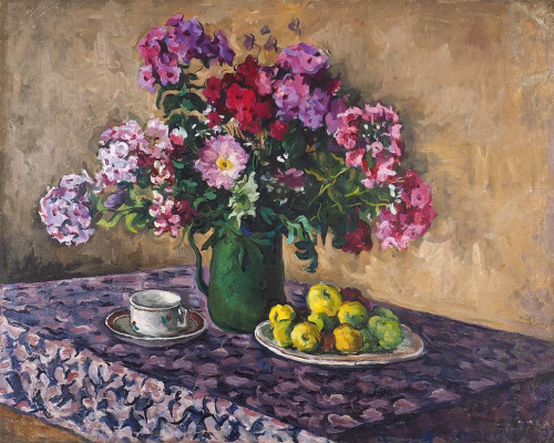 Grigory Alexandrovich Sretensky. Still life with phloxes and apples. 1930s