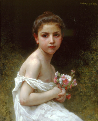 William-Adolphe Bouguereau. A little girl with a bouquet