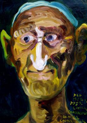 Kandinsky-DAE. Uncle Sasha (Shoemaker at boarding school № 1, Solikamsk. Oil on cardboard, 49-35, 1973