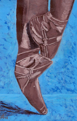 Artashes Vladimirovich Badalyan. Pointe shoes (gouache)