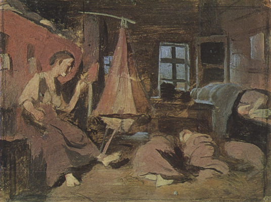 """Vasily Grigorievich Perov. Night in the hut. A sketch for the painting """"Sleeping children"""""""