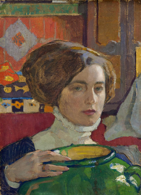 Елена Андреевна Киселева. Художница с зелёной вазой. Автопортрет. 1910