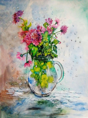 Marina Vladimirovna Patrikeeva. Bouquet in the rain