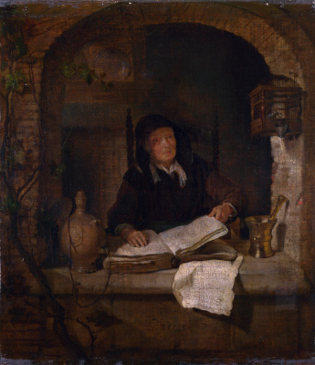Gabrielle Metsu. Old woman with book