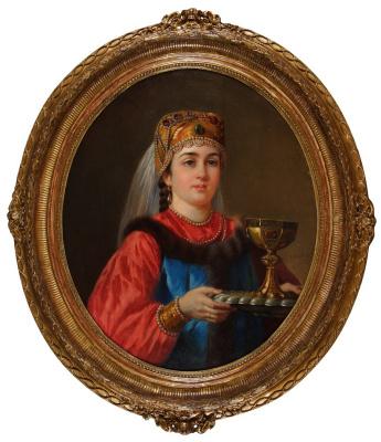 Женщина в русском наряде с кубком