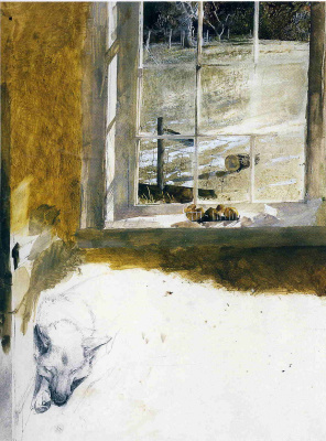 "Andrew Wyeth. Wild dog (Sketch for ""Groundhog Day"")"