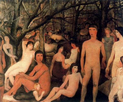 Paul Delvo. Nude in the garden