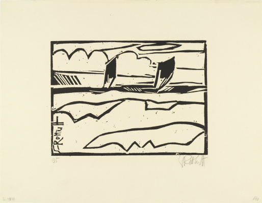 Karl Schmidt-Rottluff. Boats in the sea
