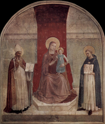 Fra Beato Angelico. Madonna on the throne with Saint Dominic and Zinovy. Fresco of the Monastery of San Marco, Florence