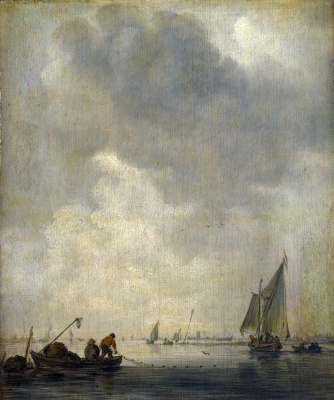 Jan van Goyen. Fishermen laying a network of