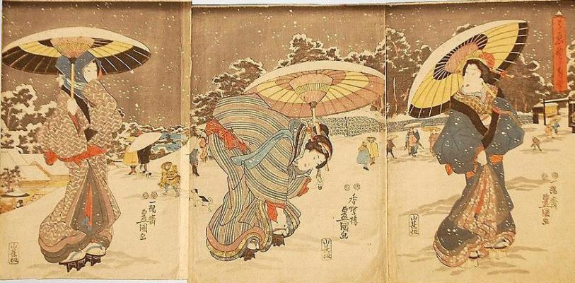 Utagawa Kunisada. Triptych: Spring snow in Ueno