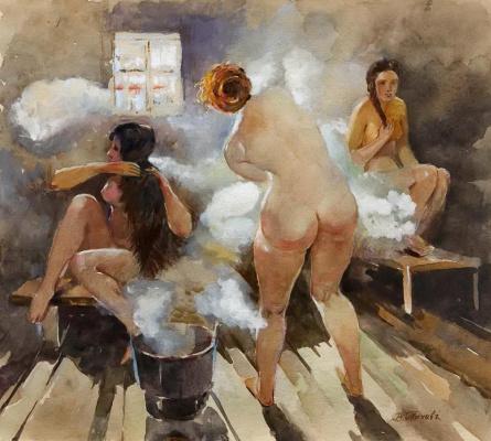 Vitaly Gavrilovich Tikhov. In the Russian bath