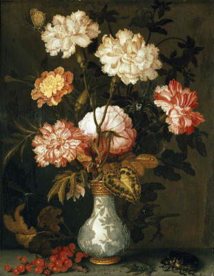 Baltazar van der Ast. Vase with flowers, a beetle and red currant