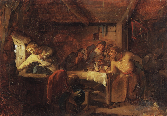 Grigory Grigorievich Myasoedov. Gregory Otrepyev's escape from the tavern on the Lithuanian border. Sketch. State Tretyakov Gallery, Moscow