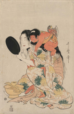 Kitagawa Utamaro. Kintaro watches Yamauba black teeth
