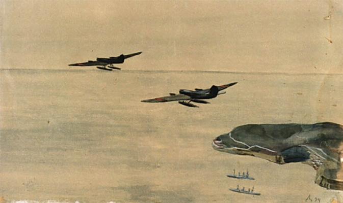 Alexander Alexandrovich Deineka. Study with seaplanes
