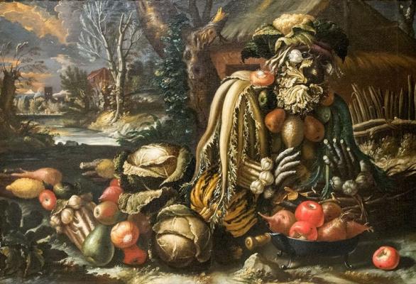 Giuseppe Arcimboldo. Winter. Still life