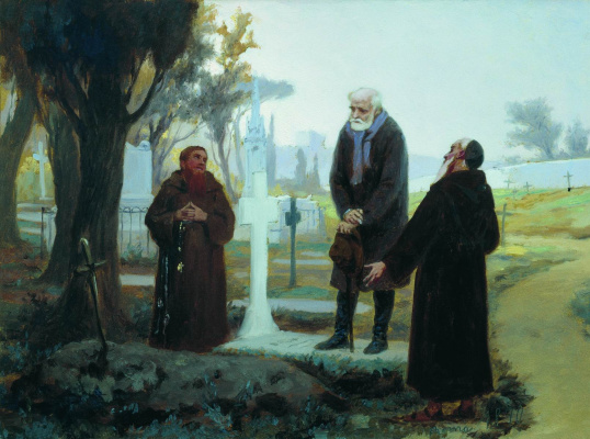 Fedor Andreevich Bronnikov. Exile in front of the grave. 1870