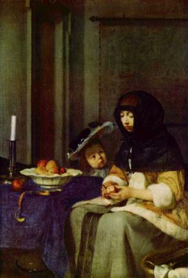Герард тер Борх Младший. Девушка , чистящая яблоко