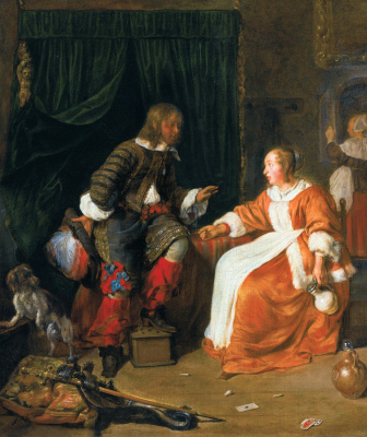 Gabrielle Metsu. The woman offers the man a glass of wine