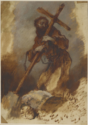 Джованни Бенедетто Кастильоне. Святой Франциск, обнимающий крест