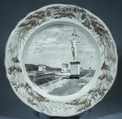"""Trifon Zakharovich Podryabinnikov. Round dish """"Volga channel"""""""