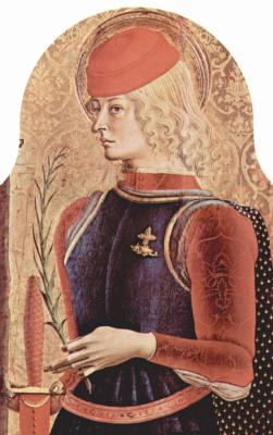 Карло Кривелли. Святой Георгий. Центральный алтарь кафедрального собора в Асколи, полиптих, внутренее правое навершие