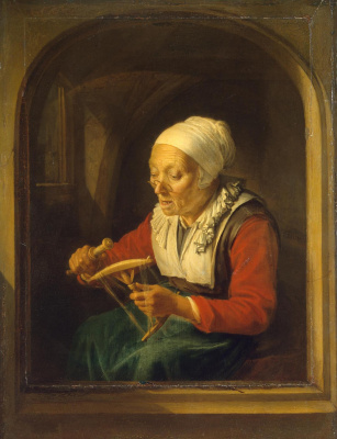 Gerrit (Gerard) Dow. The old lady, unwinding the thread