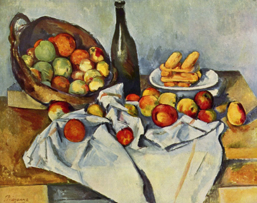 Paul Cezanne. Still life with bottle and basket of apples