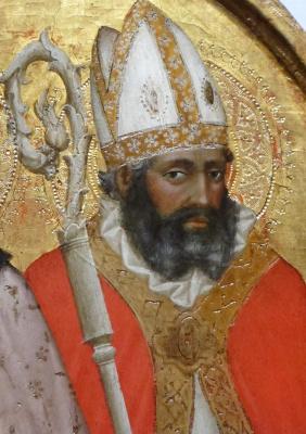 Tommaso Masaccio. Holy Bishop Blasius with a rod. Triptych San Jovenale